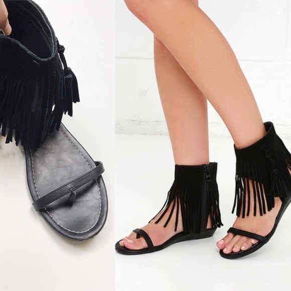 ee251192eb885e Lulu s Shoes - Lulu s Very Volatile Lex Black Fringe Sandals 9